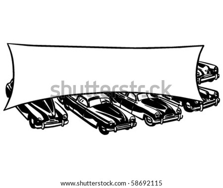 Cars With Banner - Retro Clip Art