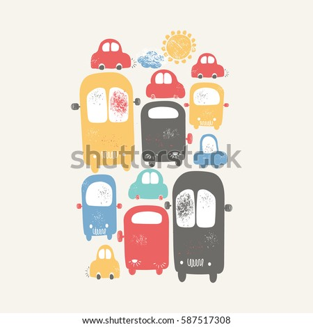 Cars with traffic jams in the city. hand drawn cartoon vector illustration.Can be used for kids or babies shirt design, fashion print design, fashion graphic, t-shirt, kids wear
