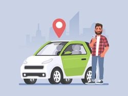 Carsharing. A man with a phone in his hand is standing next to a car. Vehicle rental. Vector illustration in cartoon style