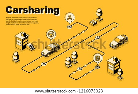 Carsharing service isometric vector concept or banner with vehicles moving along route, between destination points line art illustration. Auto owners club, car sharing network, rental city transport