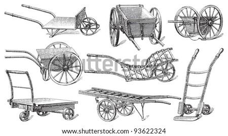 Cart collection / vintage illustration from Meyers Konversations-Lexikon 1897