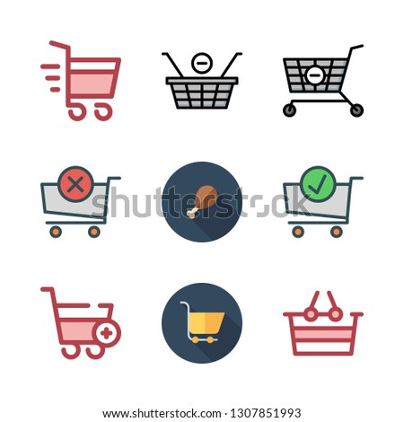cart icon set. vector set about carts, shopping basket, shopping cart and supermarket icons set.