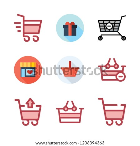 cart icon set. vector set about supermarkets, supermarket gift, shopping cart and shopping basket icons set.