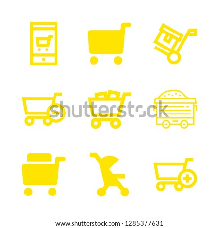 cart icons set with shopping cart filled tool, subtract of shopping cart and wagon vector set