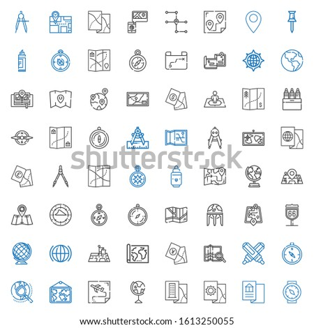 cartography icons set. Collection of cartography with compass, map, earth globe, route, explore, marker, position, global, street map. Editable and scalable cartography icons. Stock photo ©