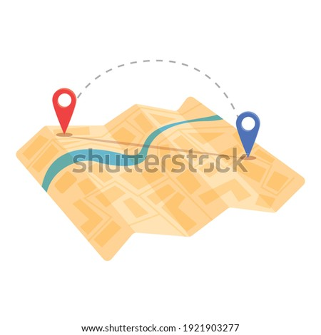 Cartography map itinerary icon. Cartoon of cartography itinerary vector icon for web design isolated on white background Stock photo ©