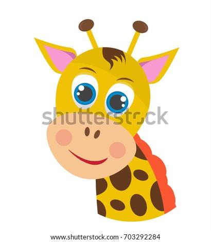 carton laughing giraffe vector