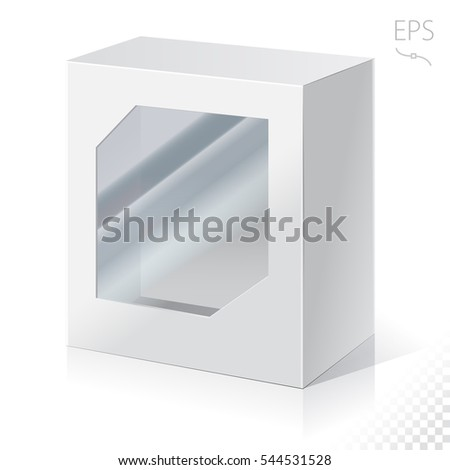 Carton Or Plastic White Blank Package Box with a transparent plastic window. Illustration Isolated On White  Background. Ready For Your Design. Product Packing Vector.