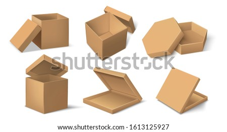 Carton package. Realistic cardboard product package mockup for food and delivery, cube and round brown pack template. Vector set paper mock up isolated container for packages cosmetics