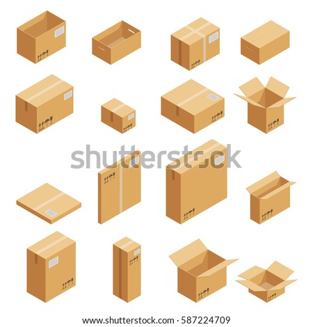 Carton packaging box. Isometric carton packaging box images set of different size with postal signs this side up fragile vector illustration. Set closed and open cardboard boxes on white background.