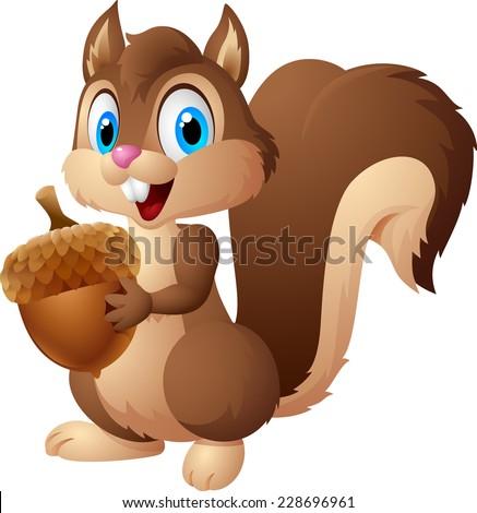 carton squirrel holding acorn