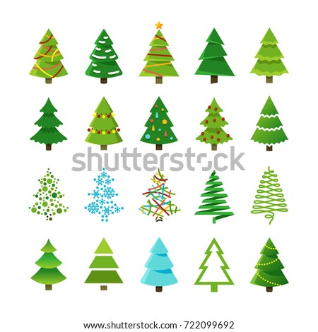 Cartoon abstract christmas trees with gifts and balls vector set. Green christmas tree collection, cartoon holiday tree for celebration xmas and new year illustration Foto stock ©