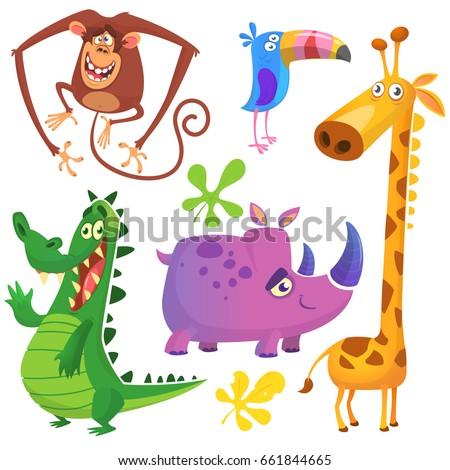 Cartoon Africa animals set. Vector illustration. Crocodile alligator, giraffe, monkey chimpanzee, toucan and rhino.