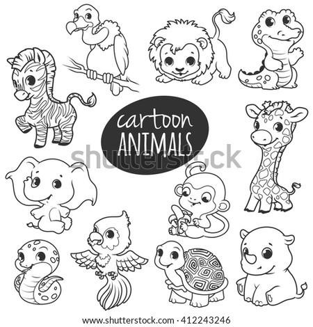 cartoon african animals cute