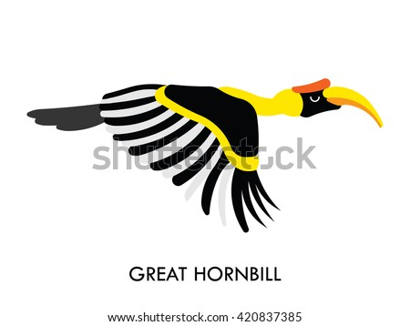 cartoon african hornbill bird