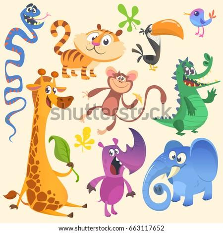 Cartoon African or jungle animal set. Vector illustration. Crocodile alligator, giraffe, monkey chimpanzee, toucan, rhino, elephant, bluebird, snake, tiger.