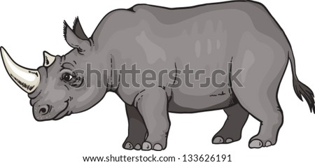 cartoon african rhino
