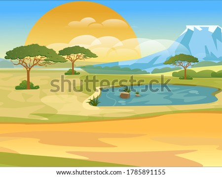 Cartoon african savannah. Realistic vector landscape. Nature of africa, safari, noon in Savannah. Vector illustration ストックフォト ©