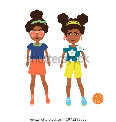 Cartoon afroamerican girls vector illustration. Teenagers bright style. Stock photo ©