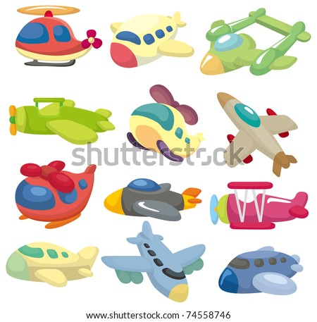 cartoon airplane  icon - stock vector