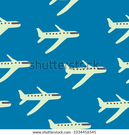 Cartoon Airplane Seamless Pattern Blue Background Vector Illustration