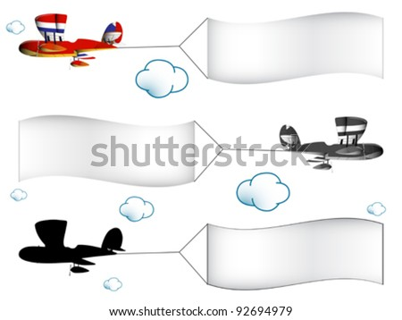 cartoon airplanes with banners