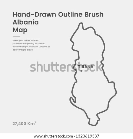 Cartoon Albania Map, Hand Drawn Albania Map, Doodle Albania Map Vector Outline Style Map Information