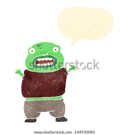 cartoon alien boy with speech bubble