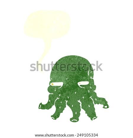 cartoon alien face with speech bubble