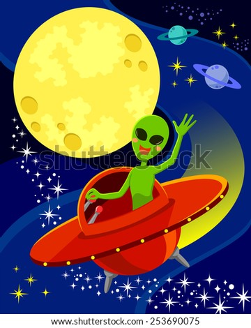 cartoon alien flying in a spaceship and waving his hand.  there is space for text in the moon.