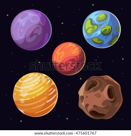 cartoon alien planets  moons