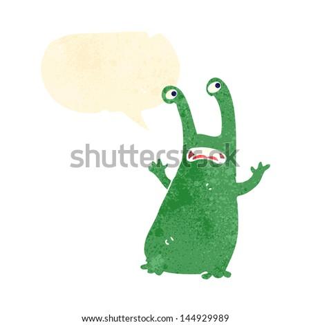 cartoon alien with speech bubble
