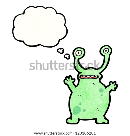 cartoon alien with thought bubble
