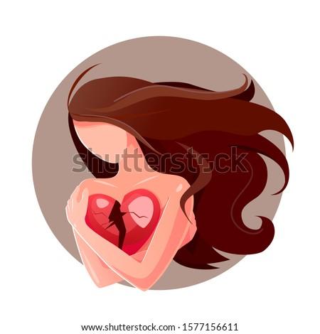 Cartoon alone girl holds broken heart on white background, parting love for concept design. Divorce symbol vector card. Depressed isolated flat illustration. Feeling low self-esteem, self-dislike