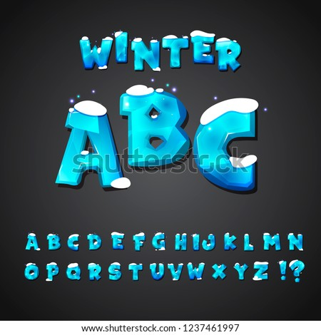 Cartoon alphabet set. Creative comic font. Letters for kids' illustrations, game design, posters, comics, banners, apps, stylized font of ice covered with snow. Editable typography vector illustration