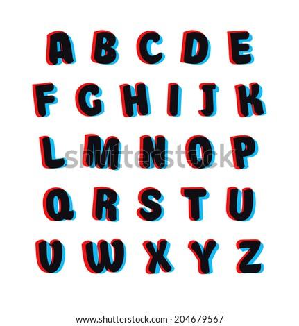 Cartoon alphabet set with overlay colors