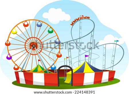 cartoon amusement park roller