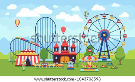 Cartoon amusement park with circus, carousels and roller coaster vector illustration. Circus park and carousel cartoon fun, amusement and carnival ストックフォト ©