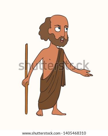 cartoon ancient Greek orator, funny vector cartoon portrait