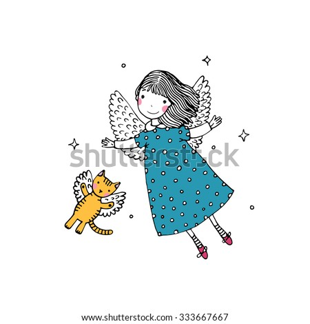 cartoon angel and cat on the