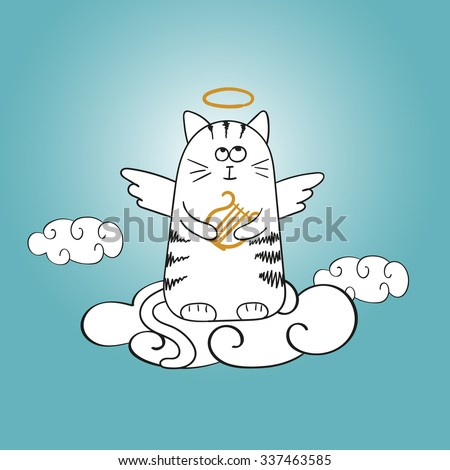 cartoon angel cat on the cloud