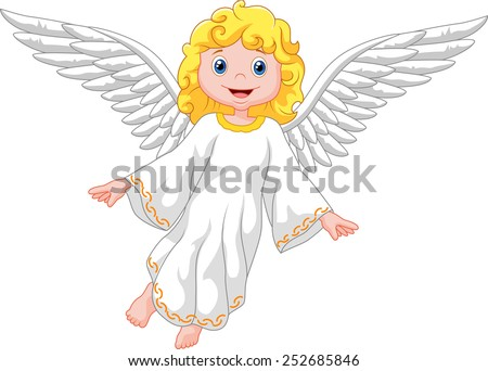 cartoon angel isolated on white