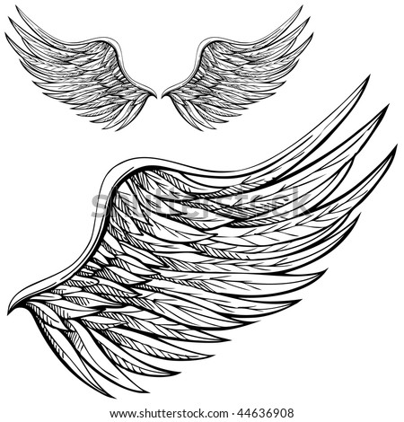stock vector Cartoon angel wings in black and white Drawn by hand