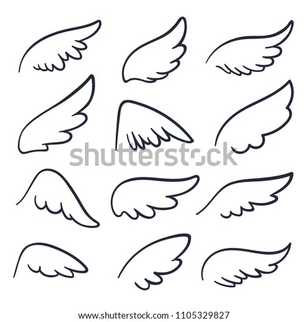 Cartoon angel wings. Winged doodle sketch icons. Angels and bird vector symbols isolated. Wing sketch tattoo, feather falcon contour illustration