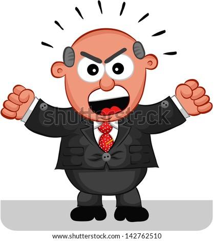 Cartoon angry boss man shouting.