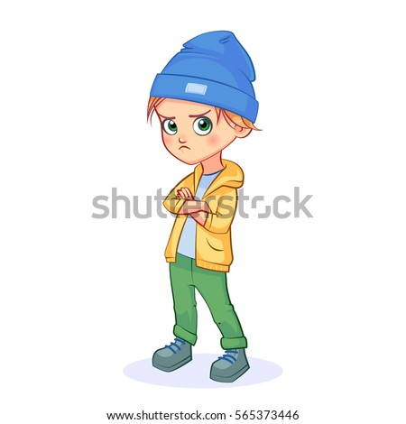 Cartoon angry little boy standing in a pose with his arms crossed and a frown. Colorful vector illustration of children's emotion isolated on white background.