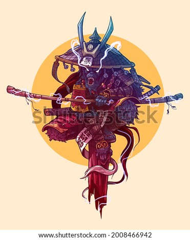Cartoon angry monkey king character. Japanese samurai in traditional armor and hat with katana sword and lightnings. Colorful vector on yellow background.