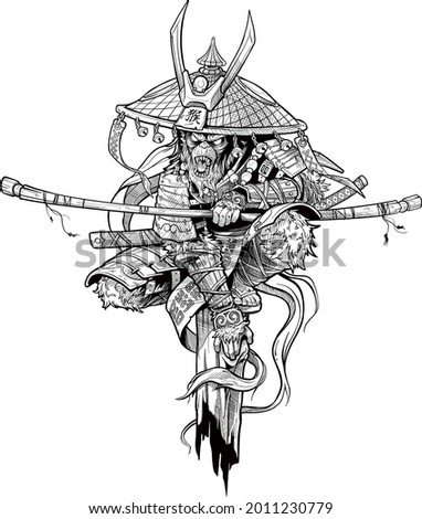 Cartoon angry monkey king character. Samurai in traditional armor and hat with katana sword and lightnings. Japanese text on the hat means 'Monkey'. Black and white vector.