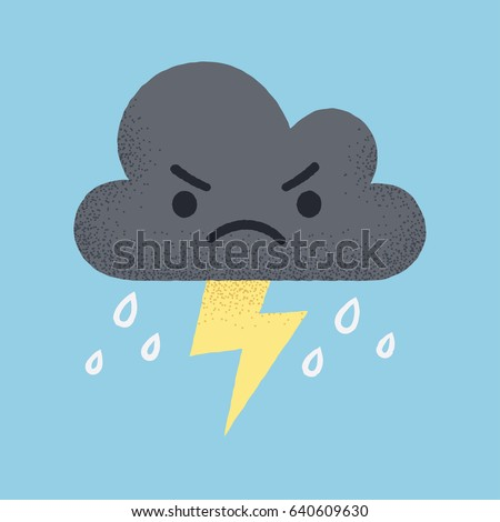 Cartoon angry storm cloud with lightning and rain. Cute retro style vector illustration.