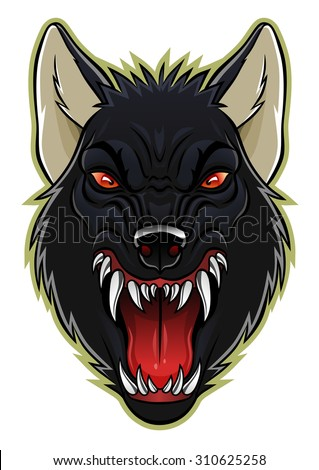 cartoon angry werewolf face on